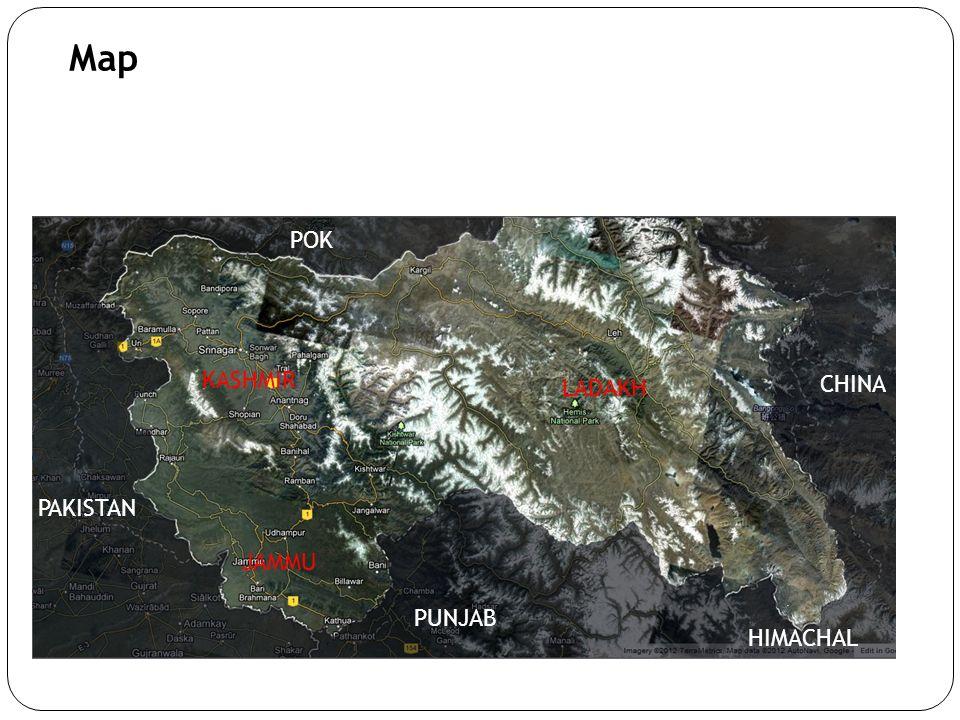 Map KASHMIR JAMMU LADAKH PAKISTAN POK PUNJAB HIMACHAL CHINA
