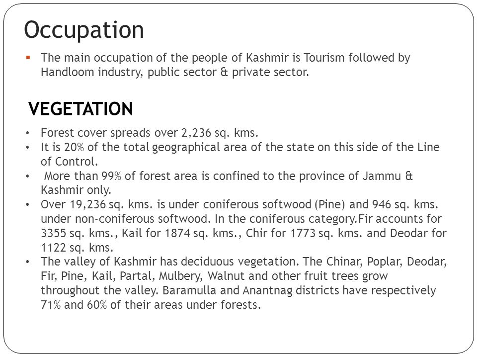 Occupation The main occupation of the people of Kashmir is Tourism followed by Handloom industry, public sector & private sector. VEGETATION Forest co