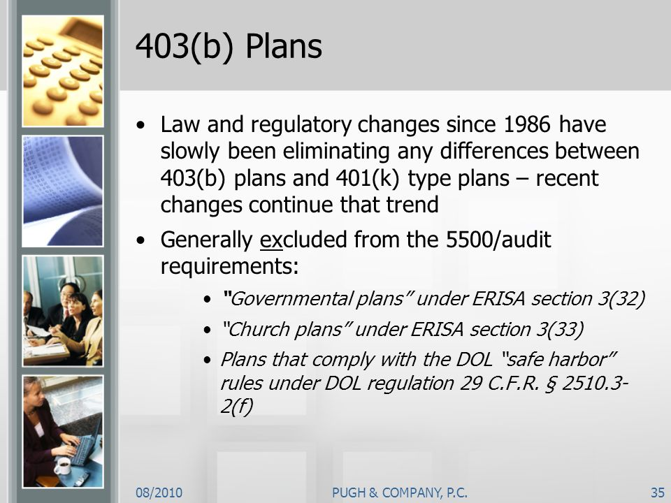 08/2010PUGH & COMPANY, P.C.35 403(b) Plans Law and regulatory changes since 1986 have slowly been eliminating any differences between 403(b) plans and