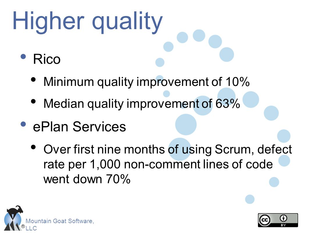 ® Mountain Goat Software, LLC Higher quality Rico Minimum quality improvement of 10% Median quality improvement of 63% ePlan Services Over first nine