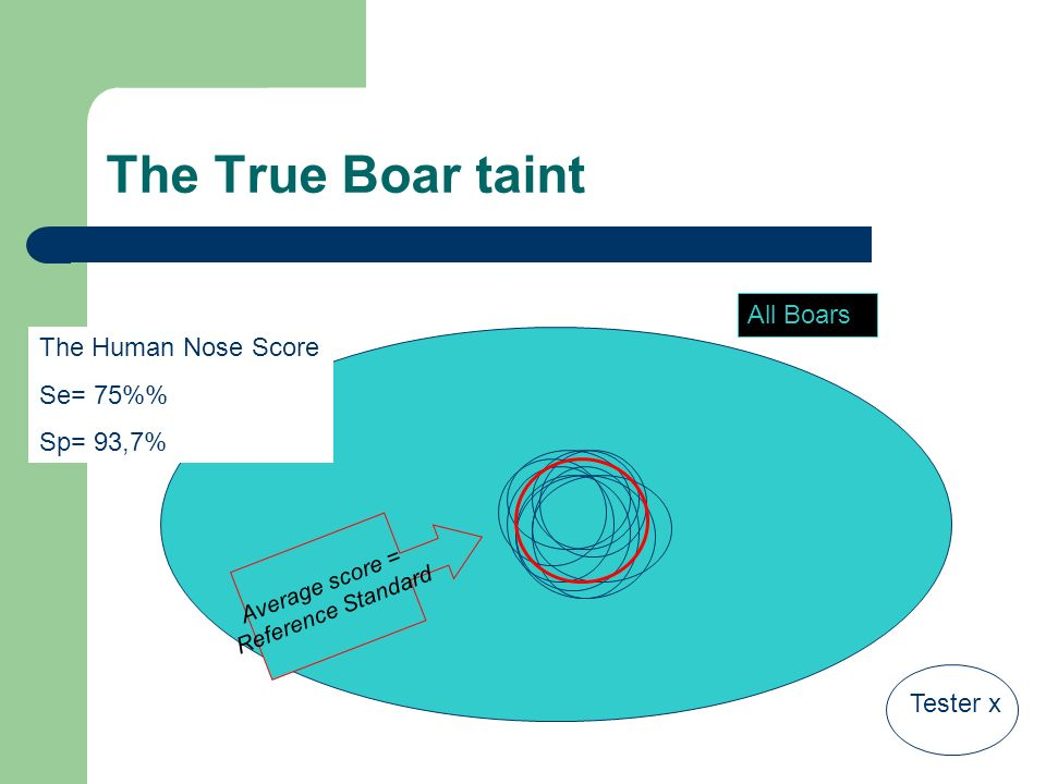 The True Boar taint All Boars Tester x Average score = Reference Standard The Human Nose Score Se= 75% Sp= 93,7%