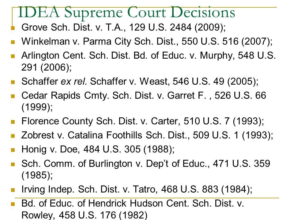 IDEA Supreme Court Decisions Grove Sch. Dist. v. T.A., 129 U.S. 2484 (2009); Winkelman v. Parma City Sch. Dist., 550 U.S. 516 (2007); Arlington Cent.
