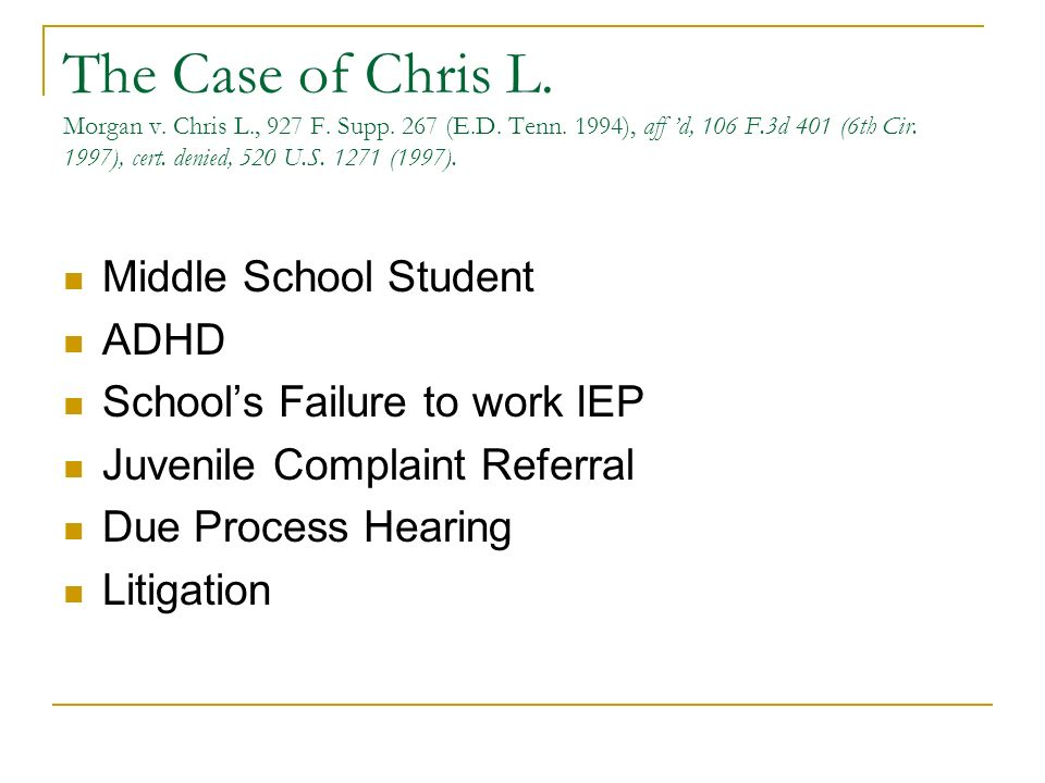 The Case of Chris L. Morgan v. Chris L., 927 F. Supp. 267 (E.D. Tenn. 1994), aff d, 106 F.3d 401 (6th Cir. 1997), cert. denied, 520 U.S. 1271 (1997).