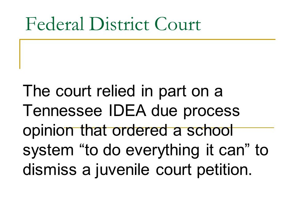Federal District Court The court relied in part on a Tennessee IDEA due process opinion that ordered a school system to do everything it can to dismiss a juvenile court petition.