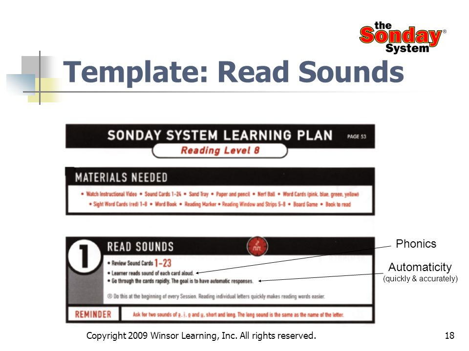 18 Template: Read Sounds Phonics Automaticity (quickly & accurately) Copyright 2009 Winsor Learning, Inc. All rights reserved.