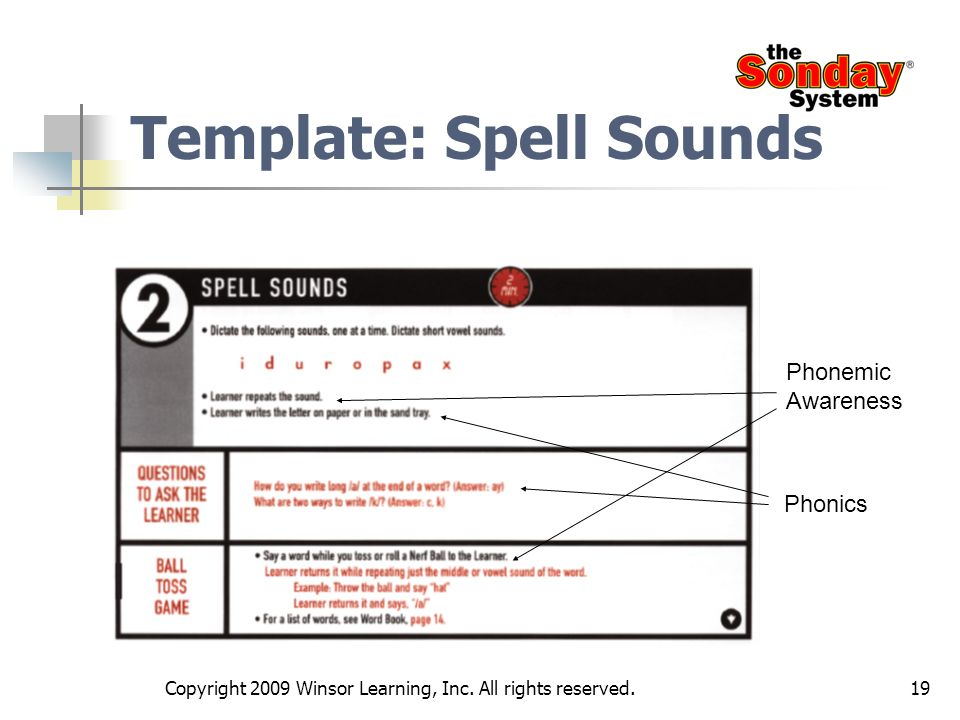 19 Template: Spell Sounds Phonemic Awareness Phonics Copyright 2009 Winsor Learning, Inc. All rights reserved.