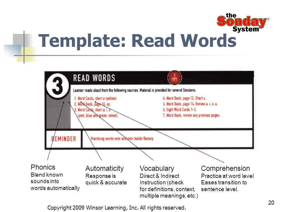 20 Template: Read Words Phonics Blend known sounds into words automatically Automaticity Response is quick & accurate Vocabulary Direct & Indirect Ins