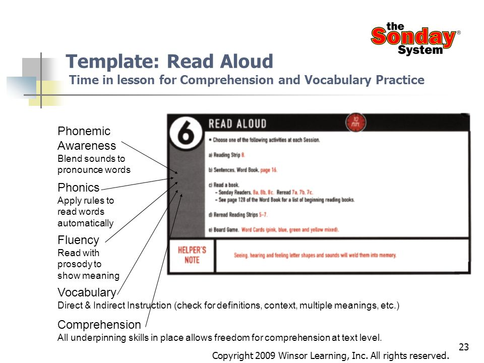 23 Template: Read Aloud Time in lesson for Comprehension and Vocabulary Practice Phonemic Awareness Blend sounds to pronounce words Phonics Apply rule