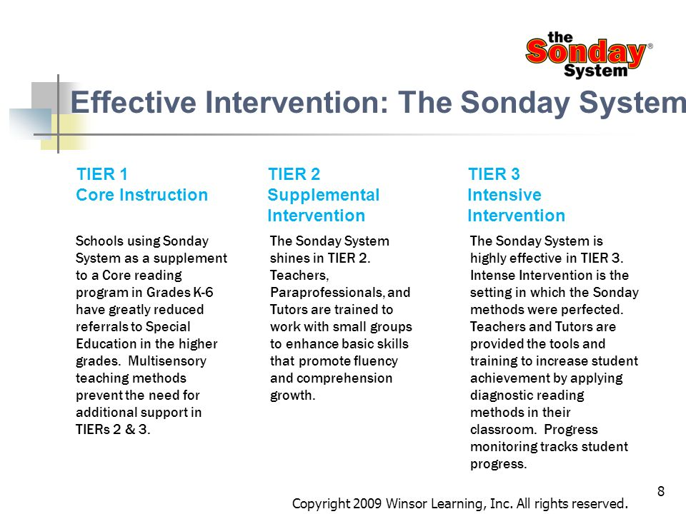 8 TIER 1 Core Instruction TIER 2 Supplemental Intervention The Sonday System shines in TIER 2. Teachers, Paraprofessionals, and Tutors are trained to