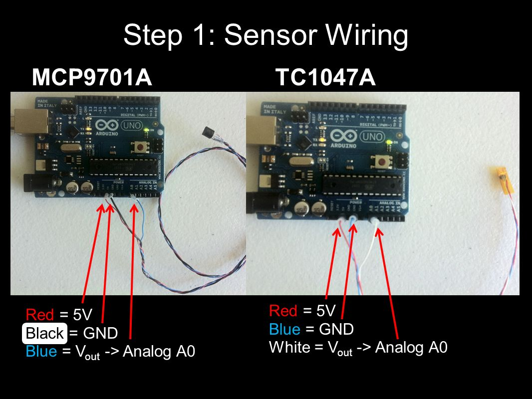 MCP9701ATC1047A Step 1: Sensor Wiring Red = 5V Blue = GND White = V out -> Analog A0 Red = 5V Black = GND Blue = V out -> Analog A0