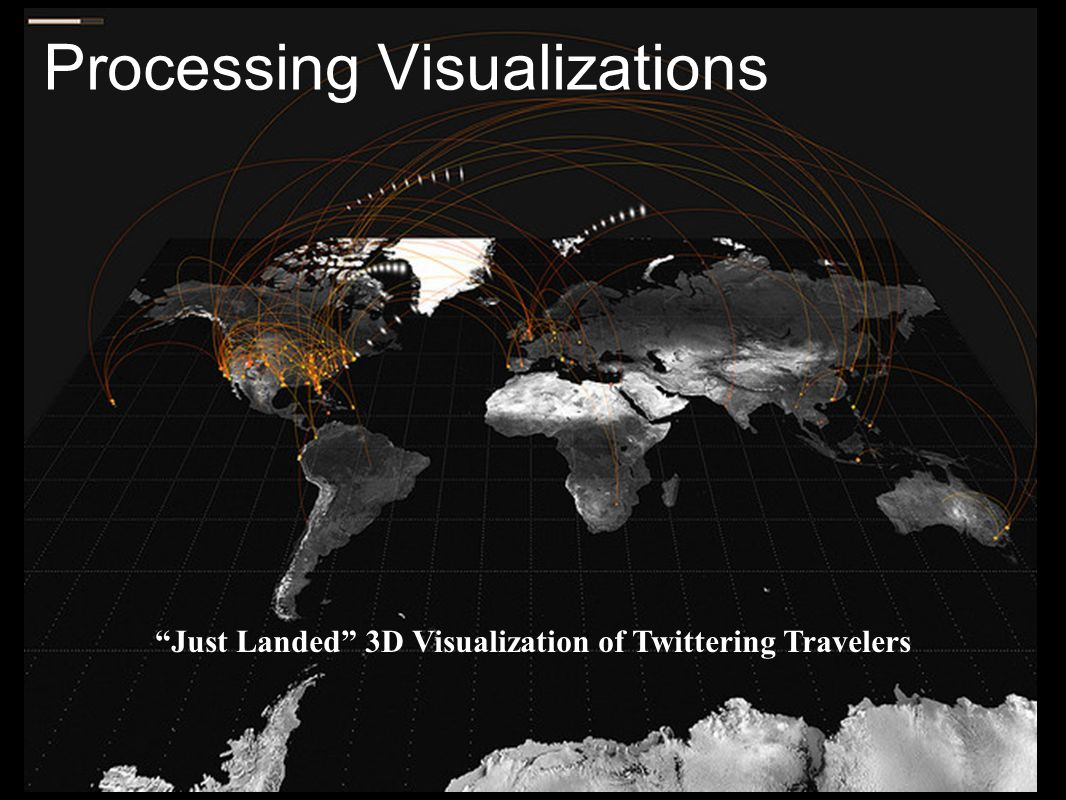 Processing Visualizations Just Landed 3D Visualization of Twittering Travelers