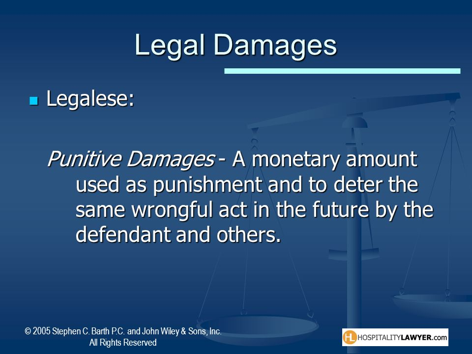 © 2005 Stephen C. Barth P.C. and John Wiley & Sons, Inc. All Rights Reserved Legal Damages Legalese: Legalese: Punitive Damages - A monetary amount us