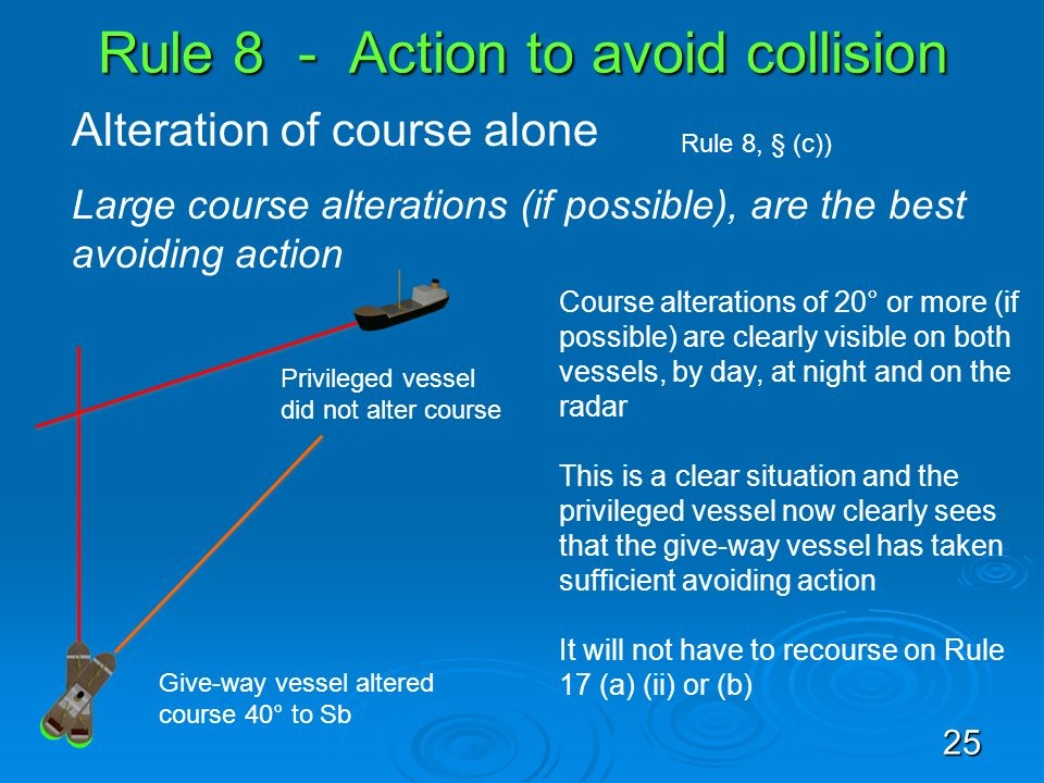 Rule 8 - Action to avoid collision Alteration of course alone Rule 8, § (c)) Large course alterations (if possible), are the best avoiding action Priv