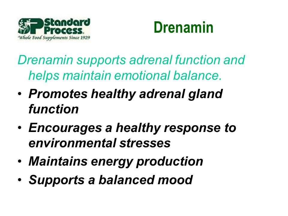 Drenamin Drenamin supports adrenal function and helps maintain emotional balance. Promotes healthy adrenal gland function Encourages a healthy respons