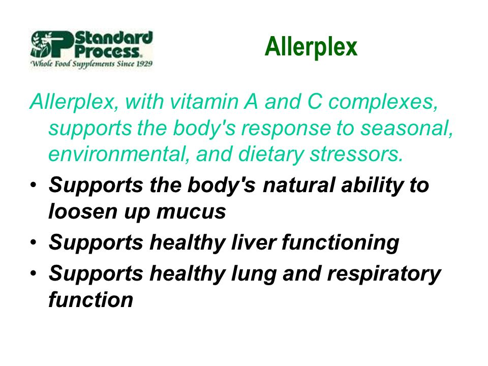 Allerplex Allerplex, with vitamin A and C complexes, supports the body's response to seasonal, environmental, and dietary stressors. Supports the body