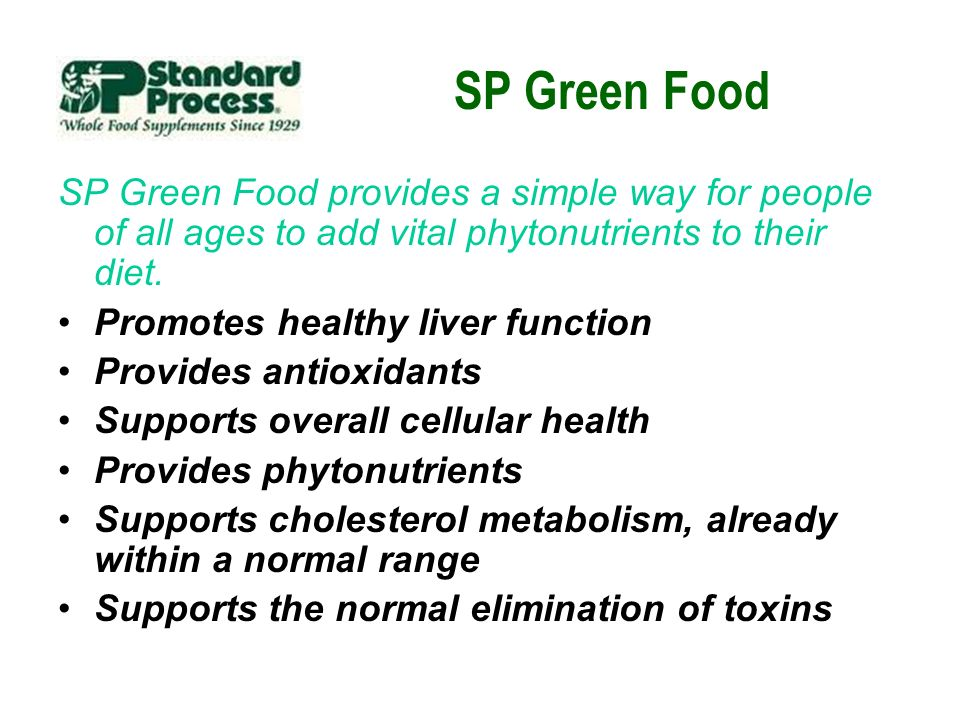 SP Green Food SP Green Food provides a simple way for people of all ages to add vital phytonutrients to their diet. Promotes healthy liver function Pr