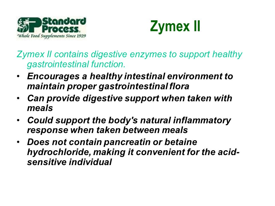 Zymex II Zymex II contains digestive enzymes to support healthy gastrointestinal function. Encourages a healthy intestinal environment to maintain pro