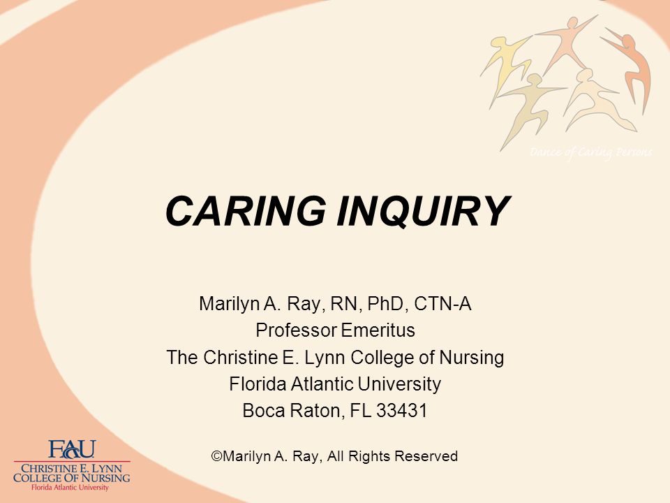 Philosophy of Caring Inquiry Grounded in care/caring philosophy (Ray, 1981a, b, 1991, 1989,1990, 1994, 2011, 2012) Grounded in phenomenological-hermeneutics (descriptive-interpretive reflection and analysis) Influenced by van Manen, Husserl, Heidegger, Gadamer, Ricoeur, Buber, the philosophy of care/caring, and aesthetics Focuses on the caring relationship in nursing and human experience