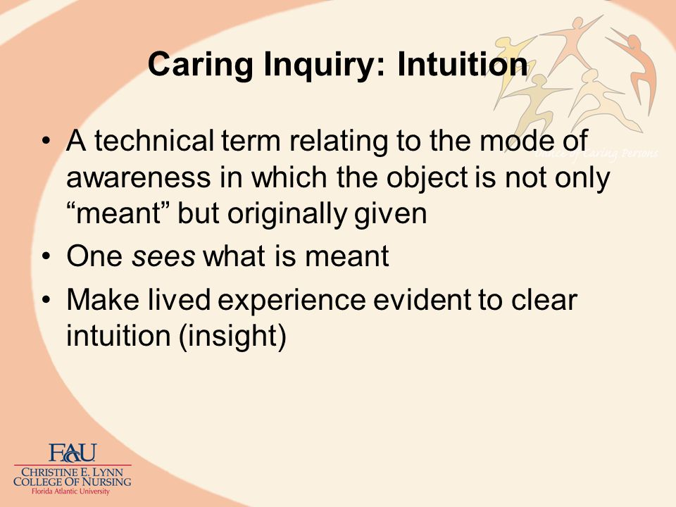 Caring Inquiry: Intuition A technical term relating to the mode of awareness in which the object is not only meant but originally given One sees what