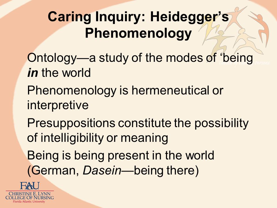 Caring Inquiry: Heideggers Phenomenology Daseinhuman being but also, openness in which entities are revealed in light of being World is revelatory World and person co-constitute each other Things show up as significant and significance is background for Reflective Understanding