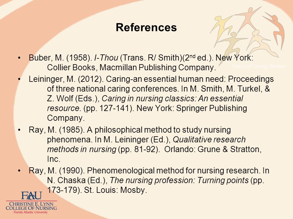 References Buber, M. (1958). I-Thou (Trans. R/ Smith)(2 nd ed.). New York: Collier Books, Macmillan Publishing Company. Leininger, M. (2012). Caring-a