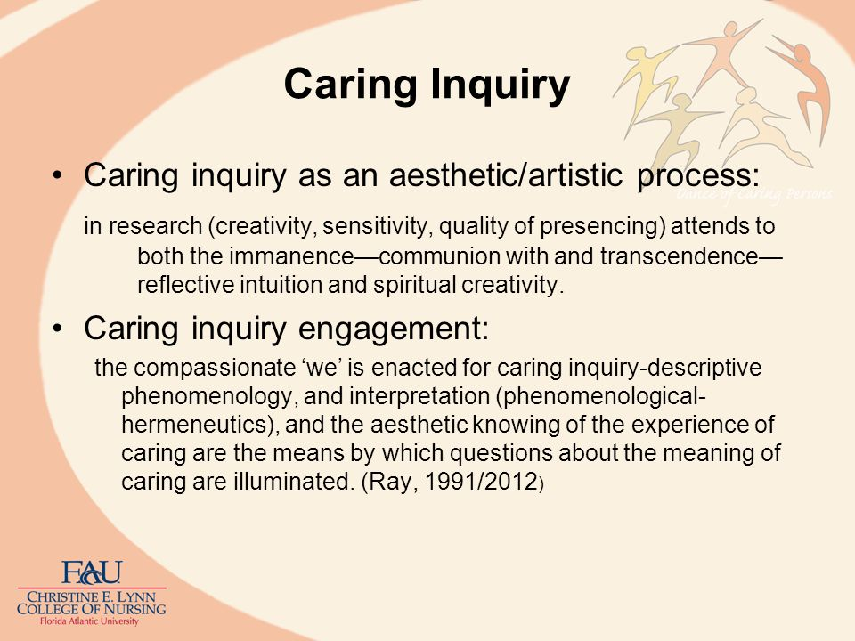 Caring Inquiry: Husserls Phenomenology Husserlian Phenomenology: Theory of knowledge, an epistemology Being of the world Science of the mind –How do human beings know.
