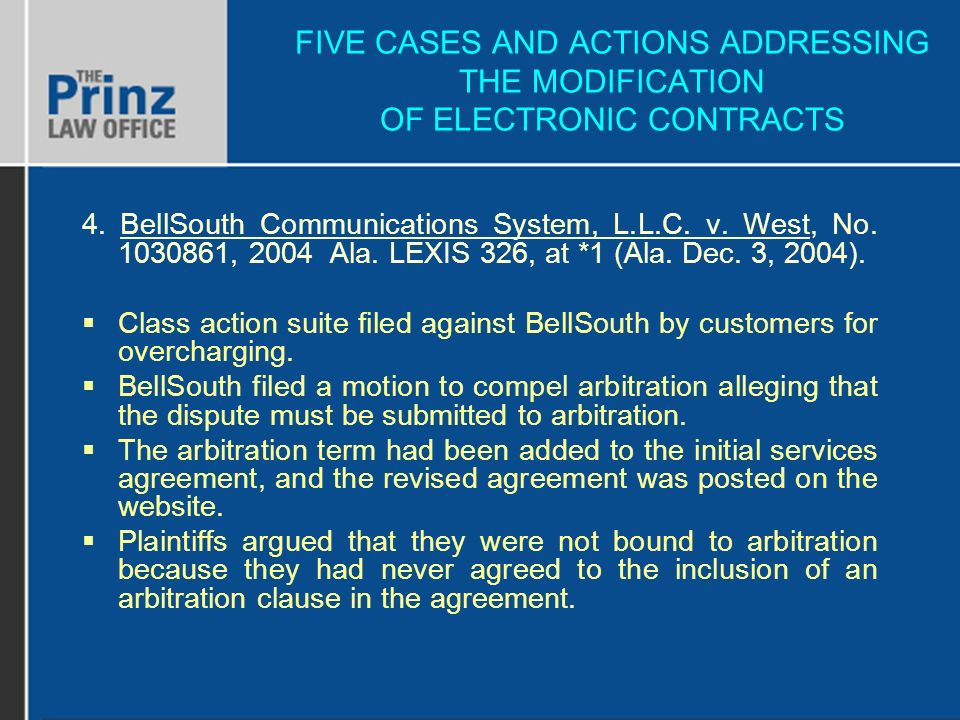 FIVE CASES AND ACTIONS ADDRESSING THE MODIFICATION OF ELECTRONIC CONTRACTS 4.