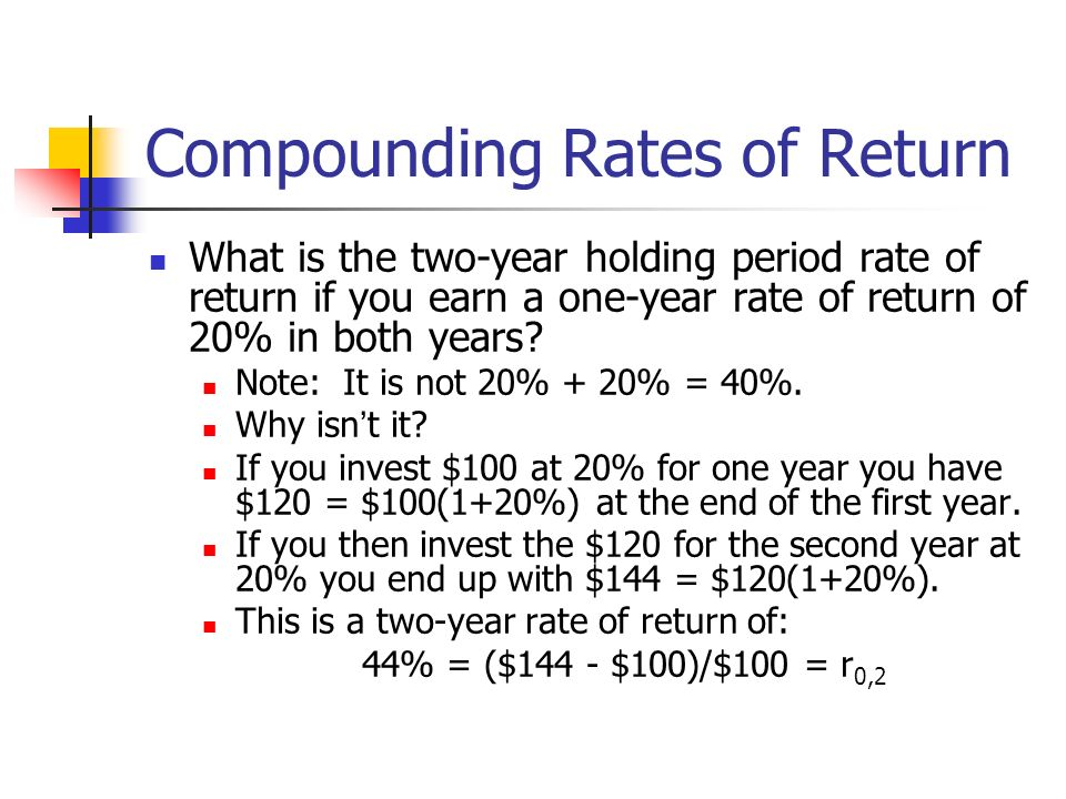 Compounding Rates of Return What is the two-year holding period rate of return if you earn a one-year rate of return of 20% in both years? Note: It is