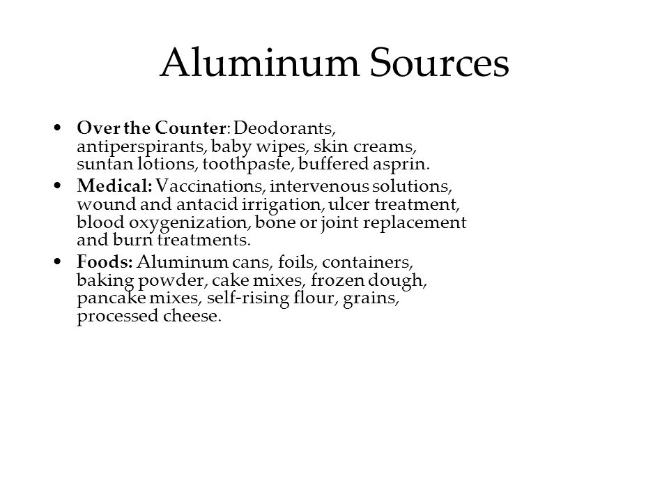Aluminum is a potent neurotoxin implicated in dementia, neurological impairment, ALS (Lou Gehrigs Disease), Parkinsons Disease, and Alzheimers Disease (Joshi, 1990; Strong 1991; Kanwar 1996).