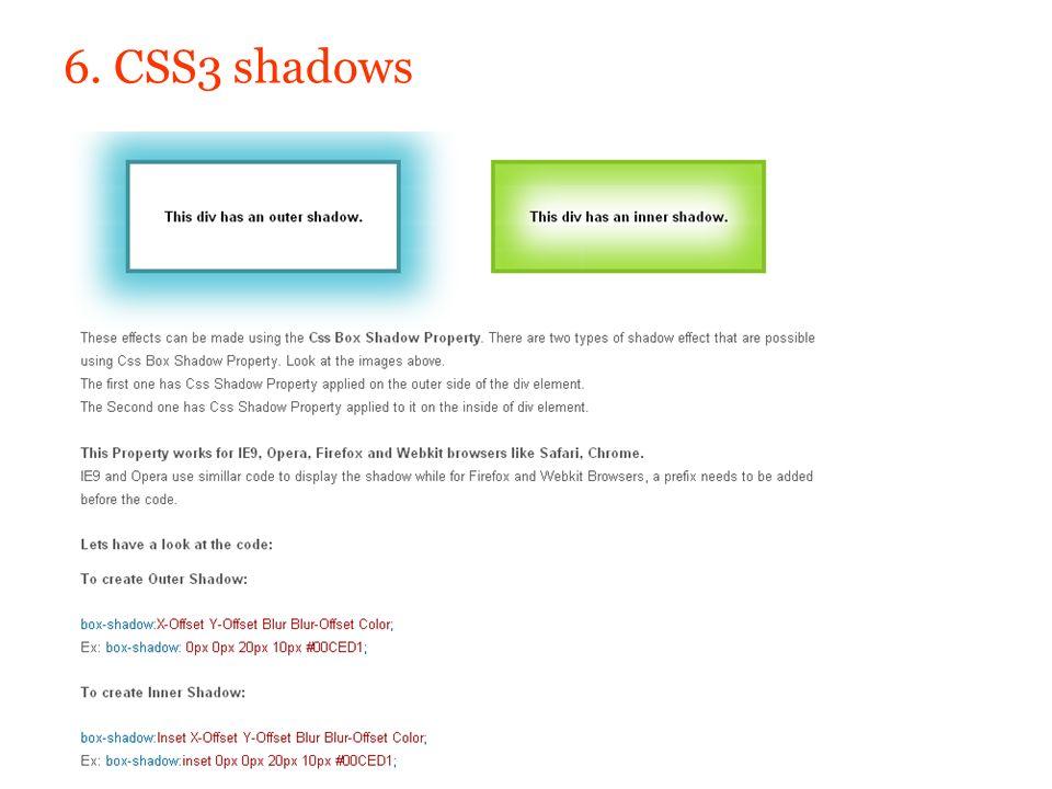 6. CSS3 shadows