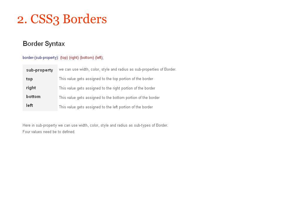 2. CSS3 Borders