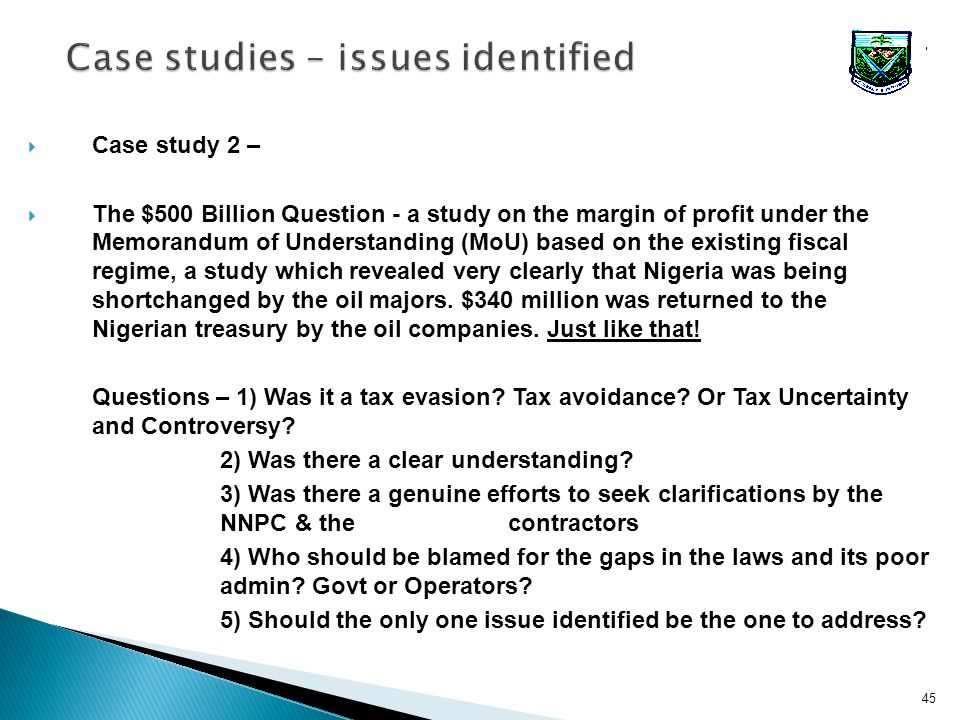 45 Case study 2 – The $500 Billion Question - a study on the margin of profit under the Memorandum of Understanding (MoU) based on the existing fiscal