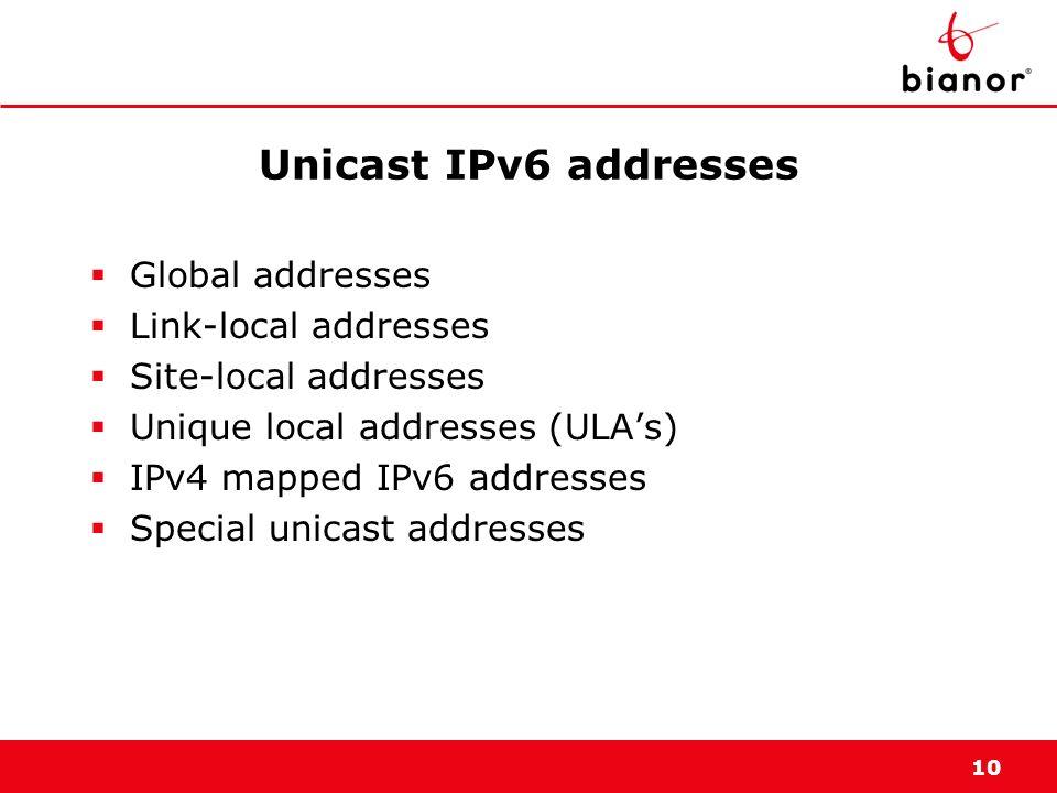 10 Unicast IPv6 addresses Global addresses Link-local addresses Site-local addresses Unique local addresses (ULAs) IPv4 mapped IPv6 addresses Special
