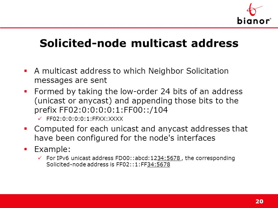 20 Solicited-node multicast address A multicast address to which Neighbor Solicitation messages are sent Formed by taking the low-order 24 bits of an