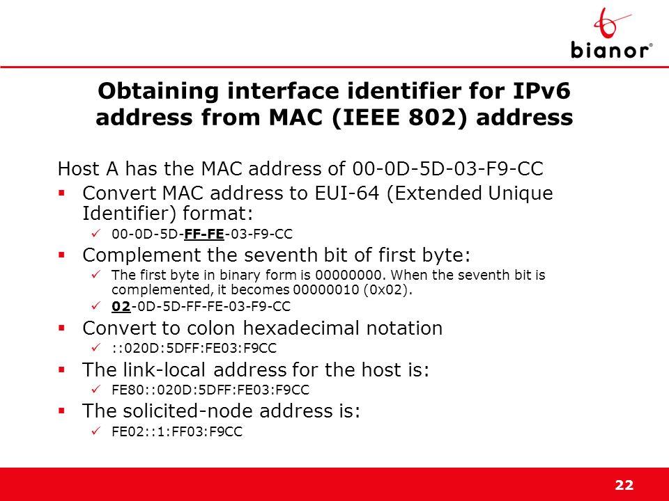 22 Obtaining interface identifier for IPv6 address from MAC (IEEE 802) address Host A has the MAC address of 00-0D-5D-03-F9-CC Convert MAC address to