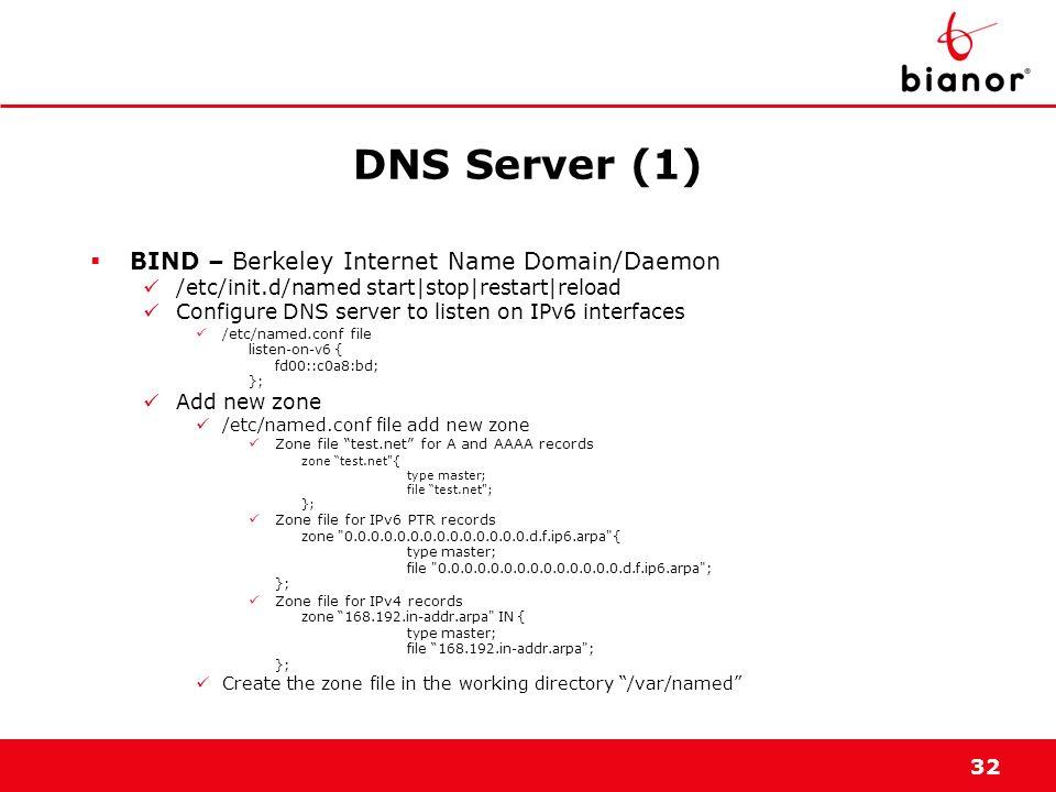 32 DNS Server (1) BIND – Berkeley Internet Name Domain/Daemon /etc/init.d/named start|stop|restart|reload Configure DNS server to listen on IPv6 inter