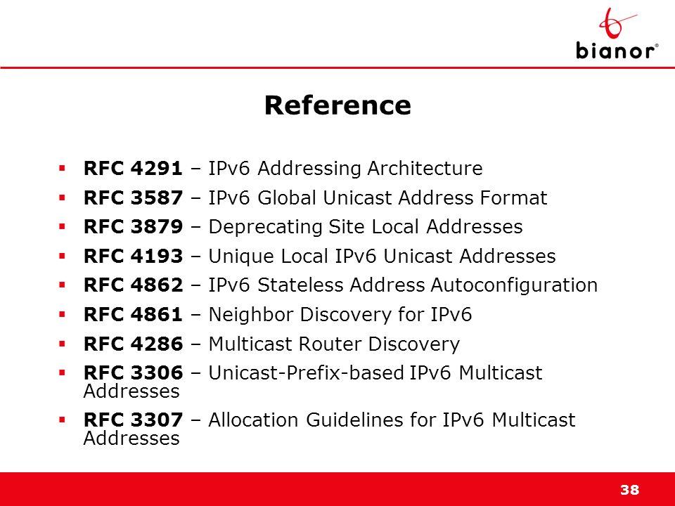 38 Reference RFC 4291 – IPv6 Addressing Architecture RFC 3587 – IPv6 Global Unicast Address Format RFC 3879 – Deprecating Site Local Addresses RFC 419