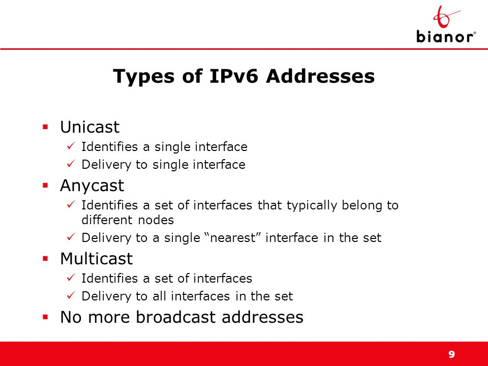 9 Types of IPv6 Addresses Unicast Identifies a single interface Delivery to single interface Anycast Identifies a set of interfaces that typically bel