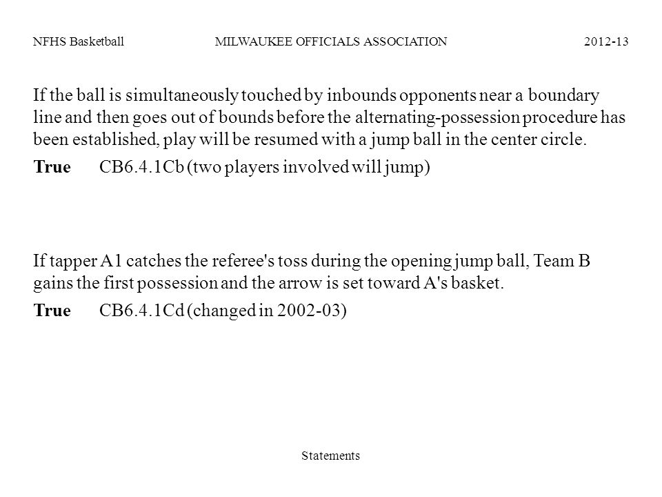 NFHS BasketballMILWAUKEE OFFICIALS ASSOCIATION2012-13 If the ball is simultaneously touched by inbounds opponents near a boundary line and then goes o