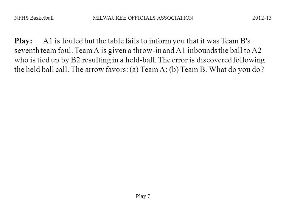 NFHS BasketballMILWAUKEE OFFICIALS ASSOCIATION2012-13 Play:A1 is fouled but the table fails to inform you that it was Team B's seventh team foul. Team