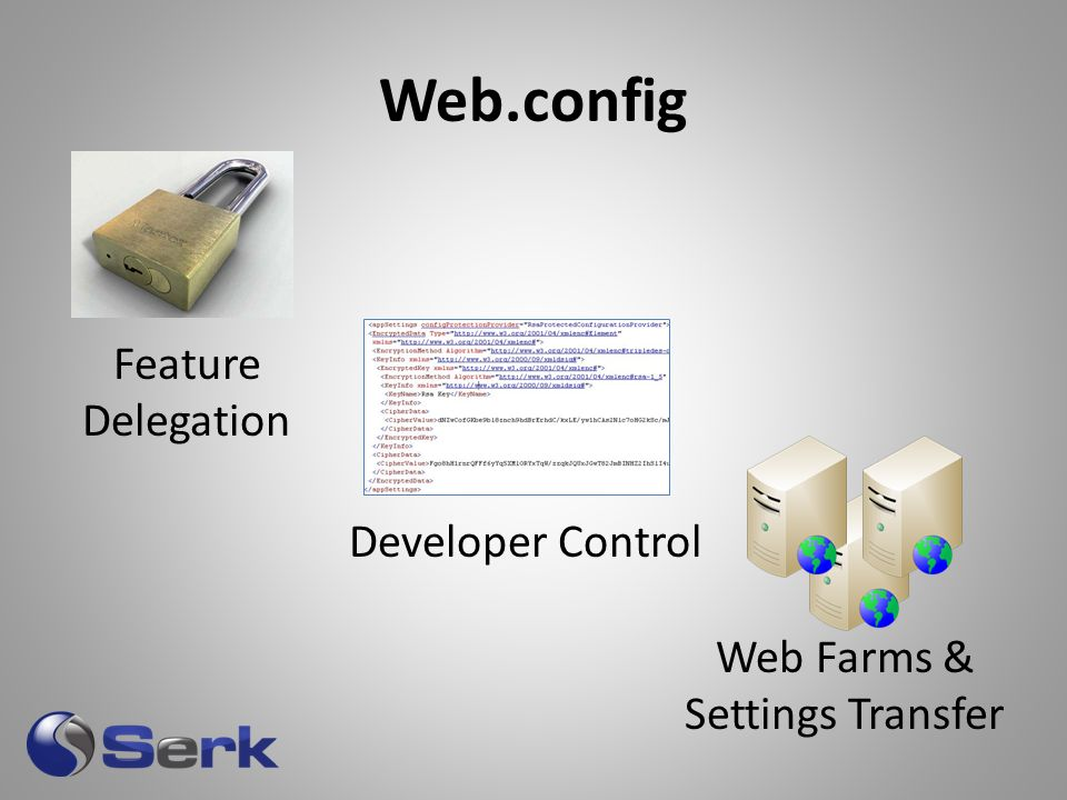 Web.config Web Farms & Settings Transfer Developer Control Feature Delegation
