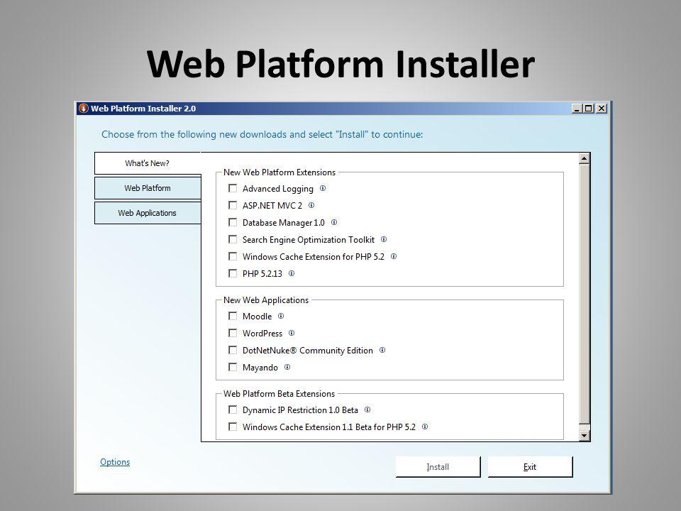 IIS: Remote Management reg Add HKLM\Software\Microsoft\WebManagement\Se rver /V EnableRemoteManagement /T REG_DWORD /D 1 /F reg Add HKLM\System\CurrentControlSet\services\wmsv c /V Start /T REG_DWORD /D 2 /F net start wmsvc
