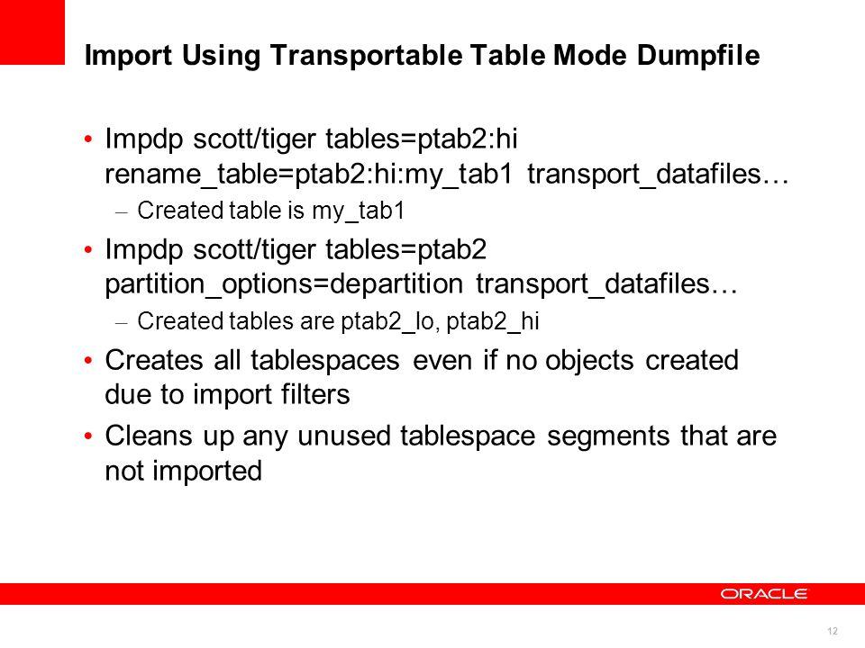 12 Import Using Transportable Table Mode Dumpfile Impdp scott/tiger tables=ptab2:hi rename_table=ptab2:hi:my_tab1 transport_datafiles… – Created table