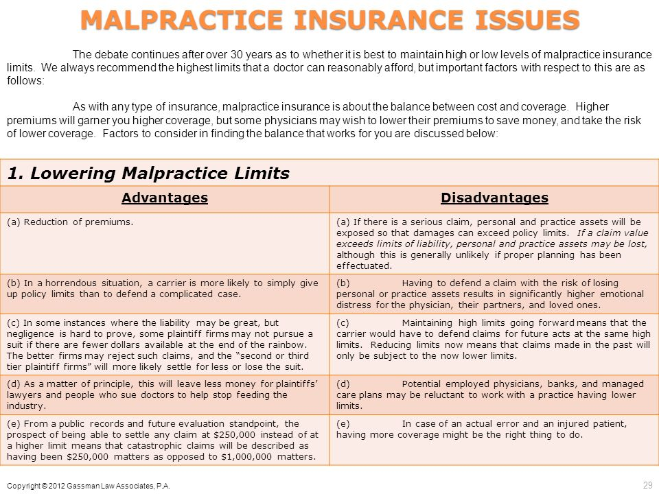 29 MALPRACTICE INSURANCE ISSUES 1. Lowering Malpractice Limits AdvantagesDisadvantages (a) Reduction of premiums.(a) If there is a serious claim, pers