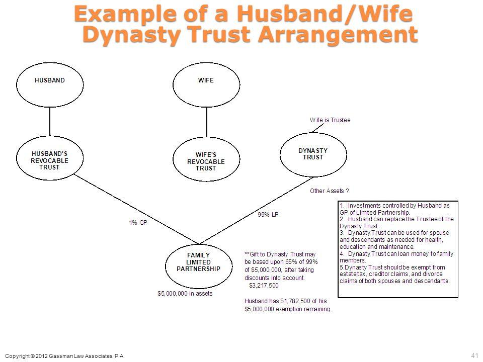 Example of a Husband/Wife Dynasty Trust Arrangement Copyright © 2012 Gassman Law Associates, P.A. 41