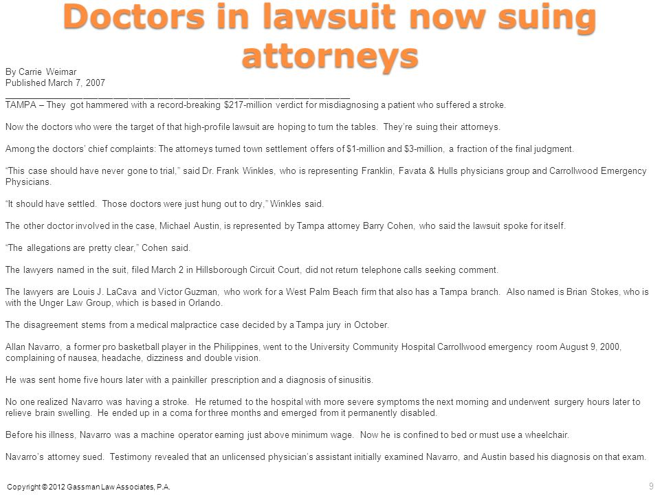 Doctors in lawsuit now suing attorneys By Carrie Weimar Published March 7, 2007 _____________________________________________________________________