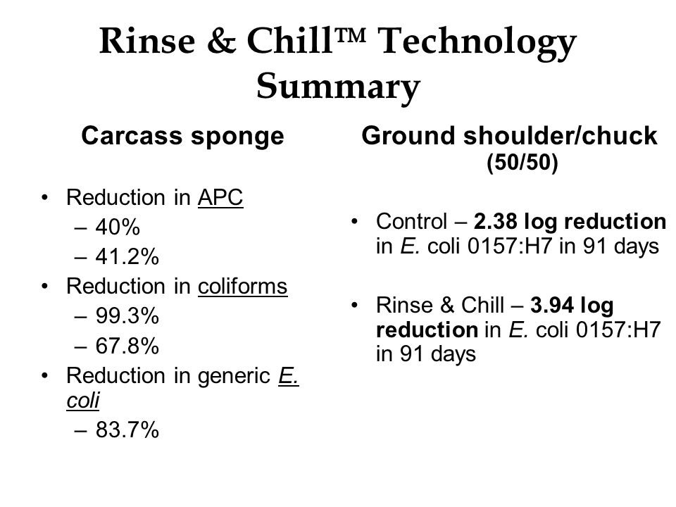 Rinse & Chill Technology Summary Carcass sponge Reduction in APC –40% –41.2% Reduction in coliforms –99.3% –67.8% Reduction in generic E. coli –83.7%