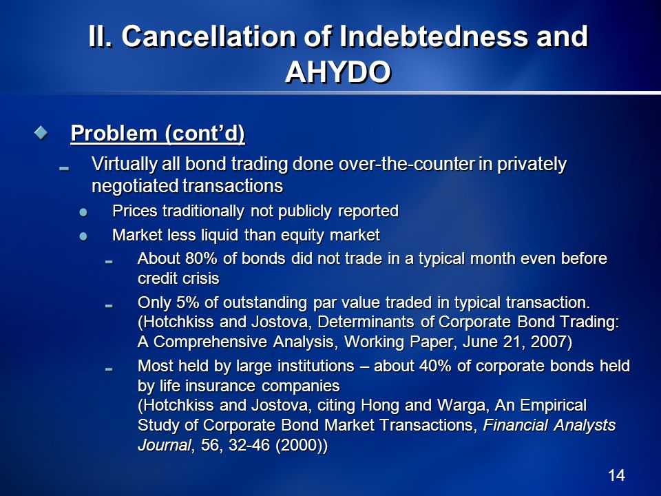 14 II.Cancellation of Indebtedness and AHYDO Problem (contd) Virtually all bond trading done over-the-counter in privately negotiated transactions Pri