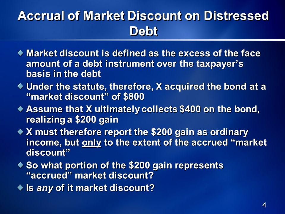 5 Do the Market Discount Rules Even Apply to Distressed Debt.