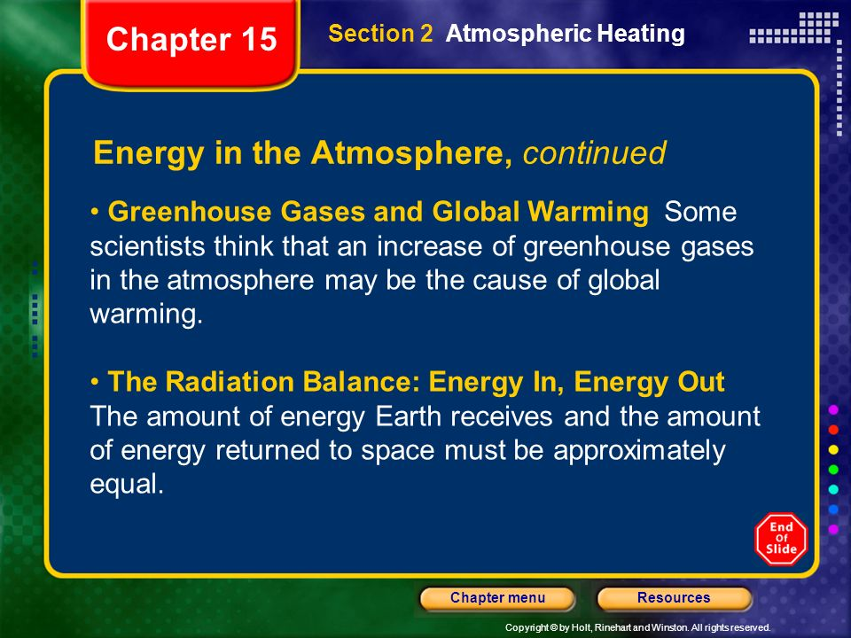 Copyright © by Holt, Rinehart and Winston. All rights reserved. ResourcesChapter menu Section 2 Atmospheric Heating Energy in the Atmosphere, continue